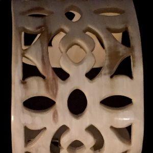 Carved Cuff Bracelet Neutral Cream Brown Open Work